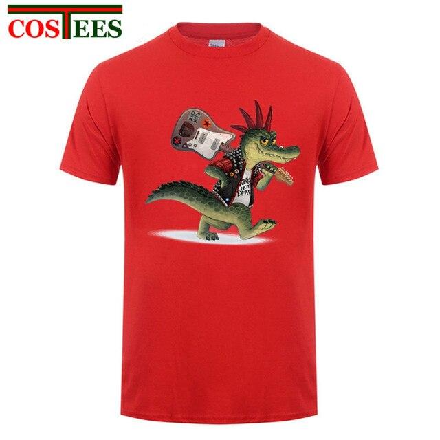 a554919ee1a Latest design Punk style Croc t shirt men punk crocodile guitar t-shirt  rock