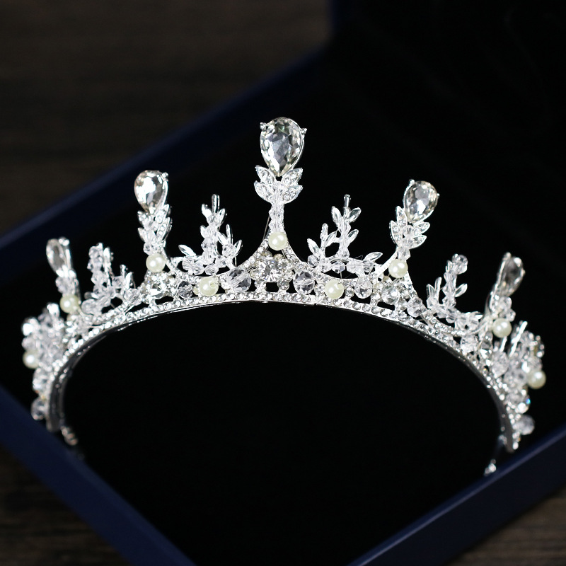 Silver Leaf Water Drop Crown Alloy Rhinestone Crystal Tiara de Noiva Headpiece Bridal Diadem Wedding Hair Jewelry Accessories LB