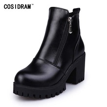 Classical British Style Women Boots Ankle Martin Boots 2017 Autumn Winter Shoes Zip Platform Thick Heel Sexy Ladies SNE-301