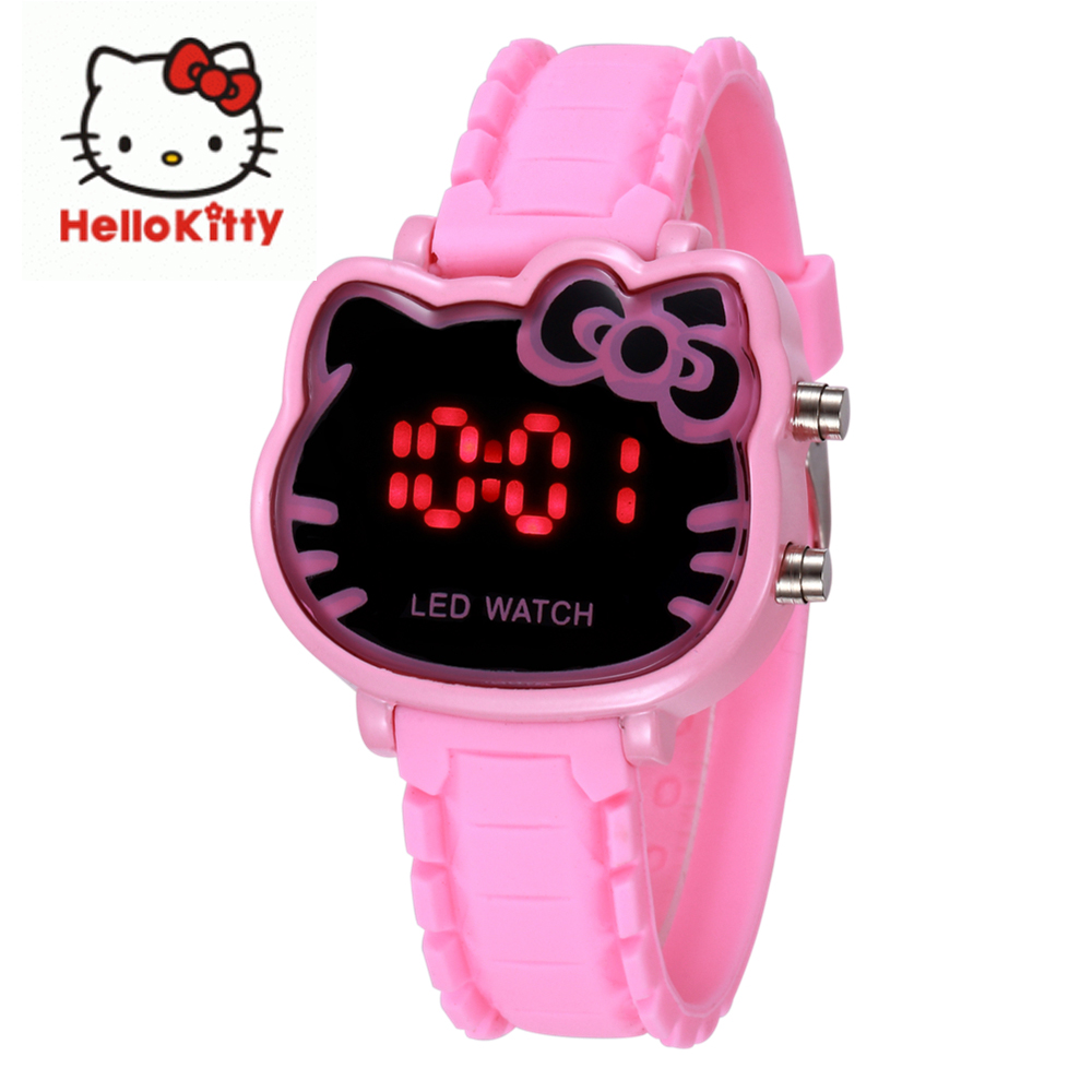 Led Display New Hello Kitty Cartoon Baby Clock Watches Women Silicone Lovely Watch Girls Kids Ladies Wristwatches Montre Enfant
