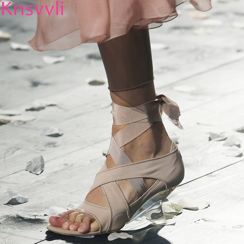 Knsvvli 2019 滑走路クリスタルクリア蹄ハイヒールサンダル女性クロス縛らアンクルストラップシューズ結婚式のパーティーの靴 Sandalias Mujer  グループ上の 靴 からの ハイヒール の中 1
