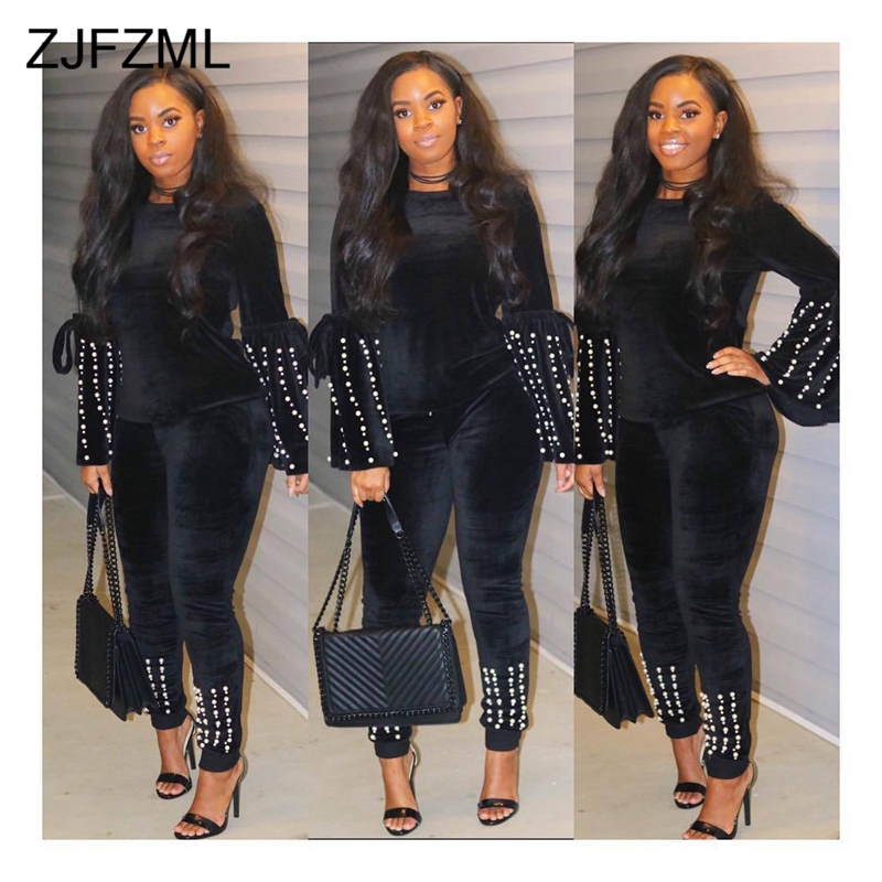 Warm Velvet Two Piece Tracksuit For Women Beaded Embellished Flare Sleeve Top+Pencil Pants Suits Casual Velour Plus Size Outfits