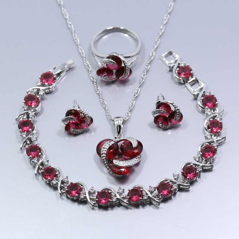 925 Silver Four Piece Jewelry Set Wedding Bridal Rose Red Crystal Ring Size 6/7/8/9/10 Bracelet 18CM Free Gift Z29