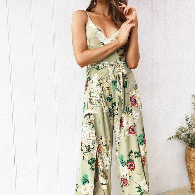 8771effeee9 2018 rompers womens jumpsuit Strappy Floral Slit Long Trouser Playsuits  Holiday summer romper bodysuit C30814 - a.carakasar.me