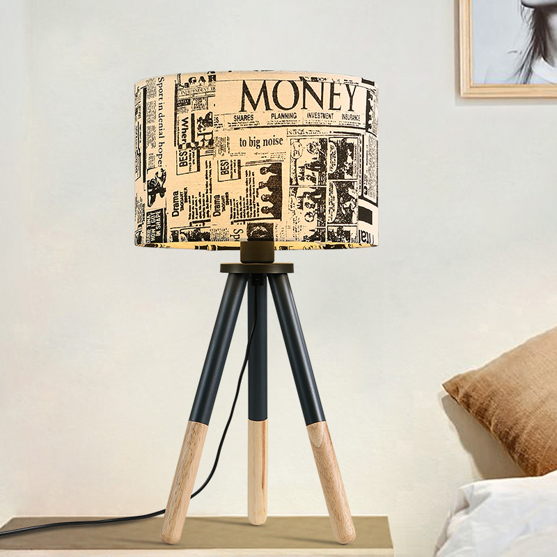 Vintage Led Table lamp Wooden Desk lamp Romantic Rustic Bedside Lamp Home/Bedroom/Living room Decor Night light Cloth Lampshade icoco usb rechargeable led magnetic foldable wooden book lamp night light desk lamp for christmas gift home decor s m l size