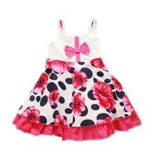 2017 г Детская одежда платья летнее Хлопковое платье с цветочным