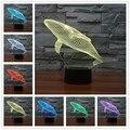 2016 Nueva LED Luz de La Noche 3D Tiburón Creativo Tridimensional Niños salón Dormitorio Bedlamp Lámpara de Mesa usb