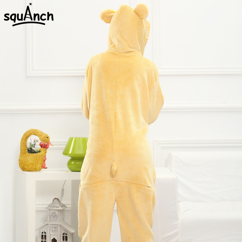 Cartoon Character Rilakkuma Cosplay Costume Women Pajama Animal Bear Jumpsuit Soft Warm Sleep Wear Festival Birthday Party Suit