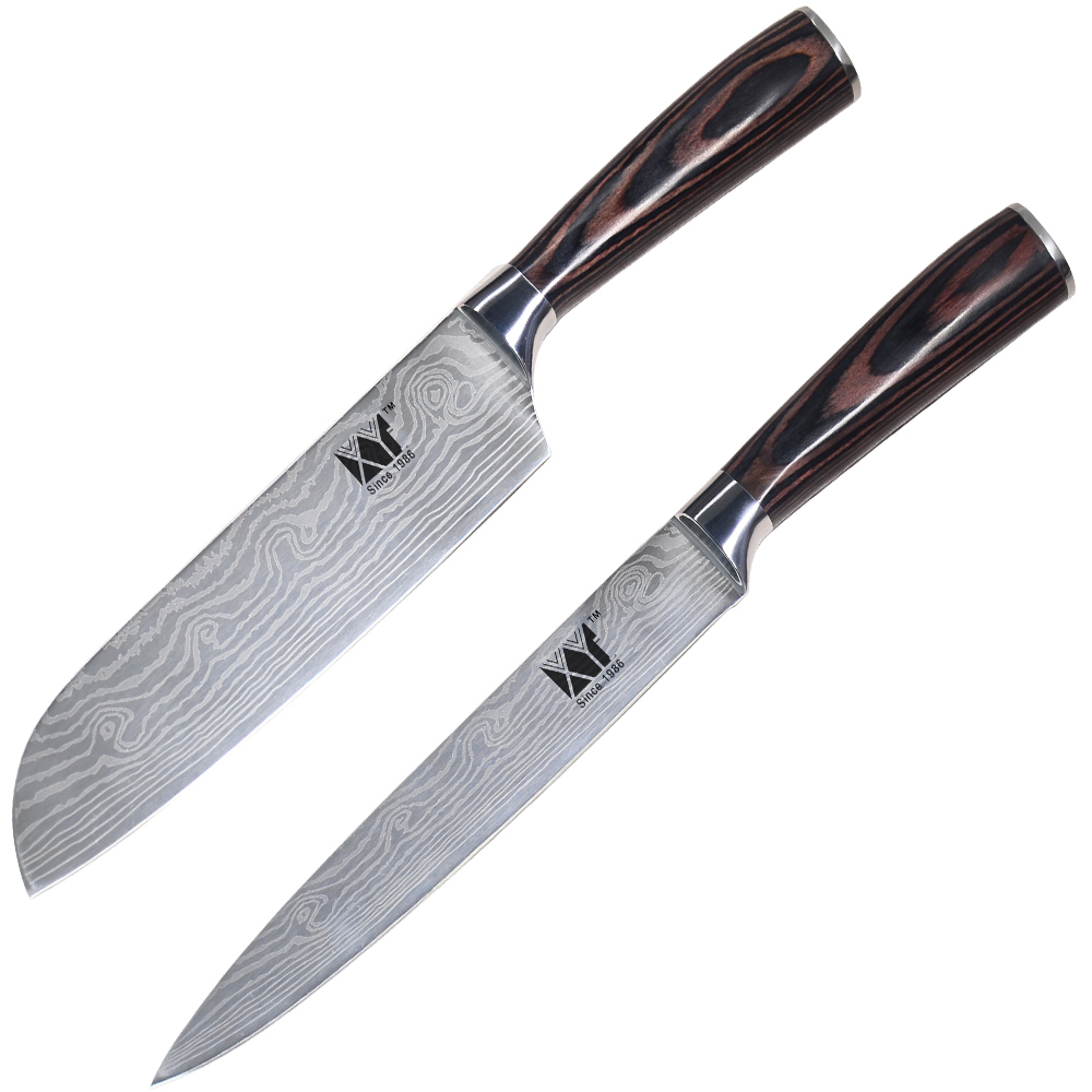 Slicing Knife: XYj Brand Good Quality Kitchen Knife Set 7 Inch Santoku 8