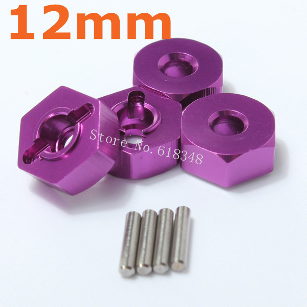 4pcs/lot Aluminum Wheel Drive Hex Hubs 12mm With Pin Nut 02134 1/10 Upgrade Parts For Himoto Racing RC Hobby Car HSP 102042 4pcs wheel hex 12mm 02134 02100 part 102042 for 1 10 rc car hsp redcat himoto racing