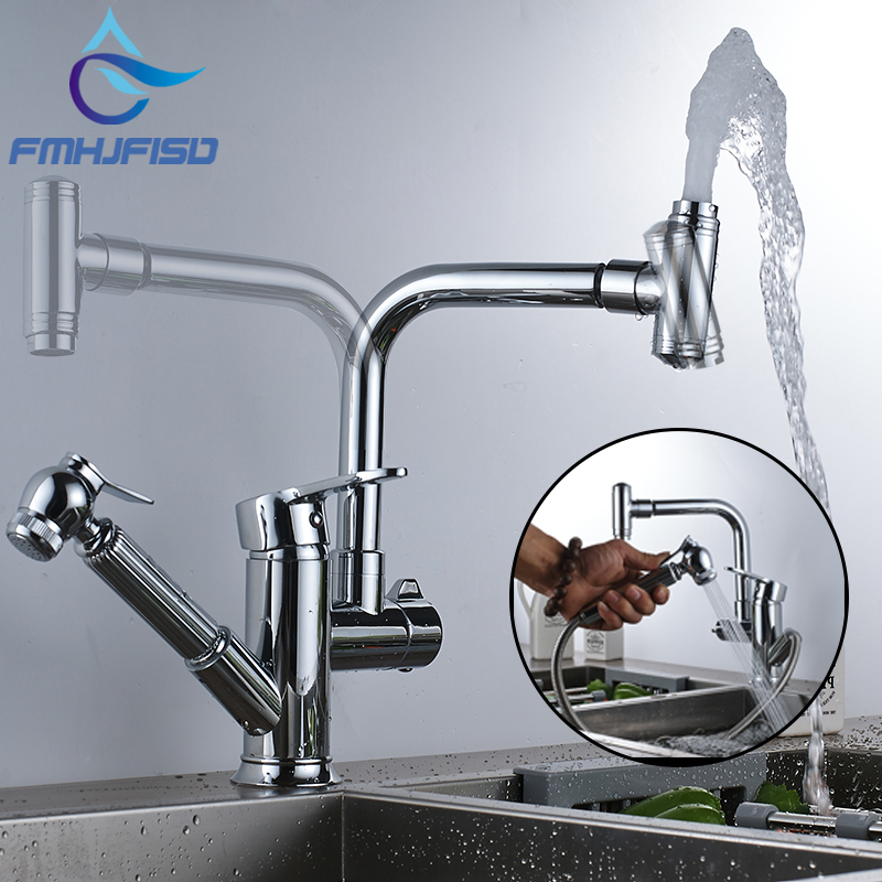 Kitchen Sink Faucet Chrome Finish Deck Mount Mixer Tap with Pull out 360 Degree Rotation Hot and Cold Water Tap modern kitchen sink faucet mixer chrome finish kitchen double sprayer pull out water tap torneira cozinha rotate hot cold tap