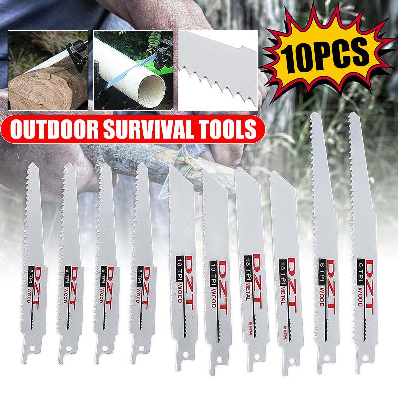 10Pcs Reciprocating <font><b>Saw</b></font> <font><b>Blades</b></font> High Carbon Steel 6/8 Inch 6/10/18 TPI <font><b>Blade</b></font> for Wood <font><b>Metal</b></font> Cutting Power Tools Accessories image