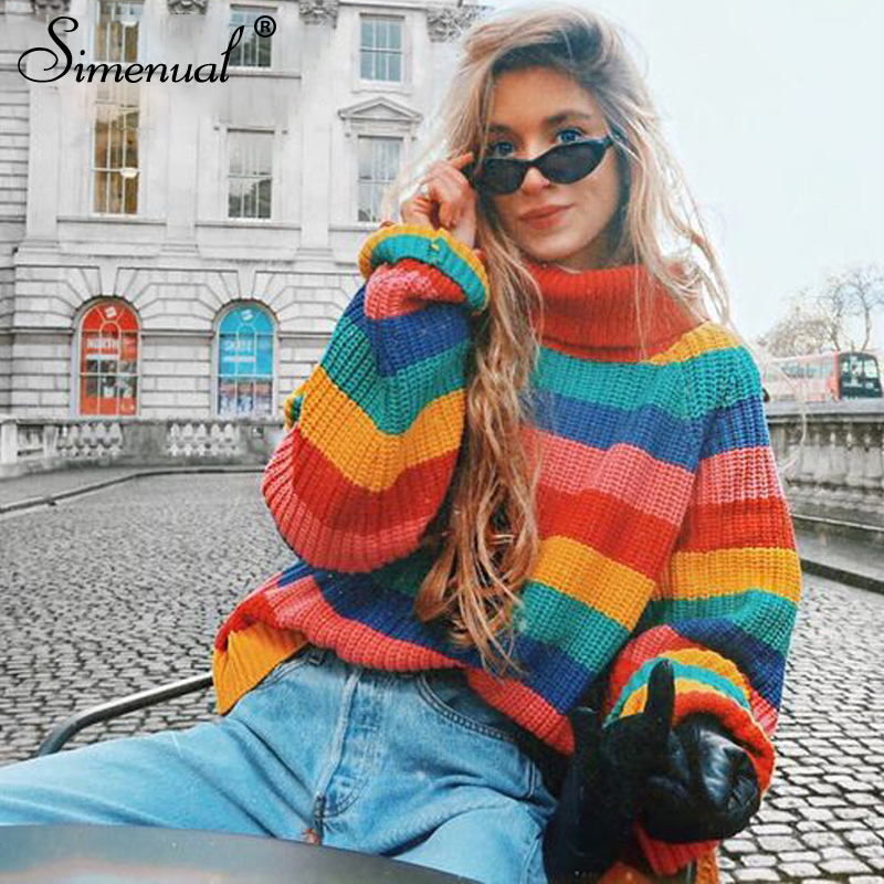 Simenual Rainbow turtleneck sweaters women winter 2018 jumpers knitted clothes fashion striped oversized pullover female sale Top