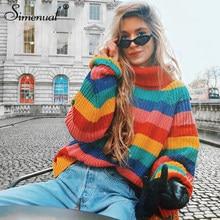 Simenual arc-en-ciel col roulé chandails femmes hiver 2021 pulls tricotés vêtements mode rayé surdimensionné pull femme vente