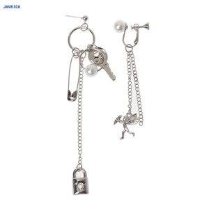 Серьги-капельки JAVRICK, асимметричная подвеска в форме сердца с металлическими кисточками, модные украшения