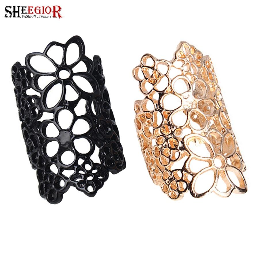 507bcbb19ce2 SHEEGIOR Corea Hollow flor anillos para las mujeres moda joyería oro  encantador aleación Negro hombres anillo accesorios Bague Femme regalo
