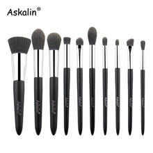 Askalin 10 pcs Makeup brushes Foundation Highlight eye Shadow travel brush set Portable slim handle