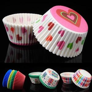 Image 2 - 100 個ベーキングカップケーキ紙コップ抗油小ケーキボックスキッチンアクセサリーカップケーキライナーケーキデコレーションツール耐熱皿