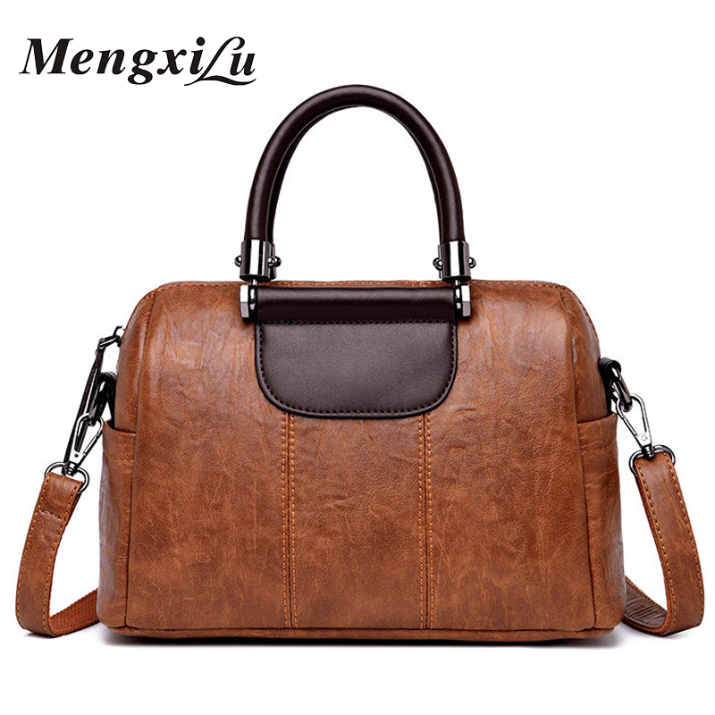 все цены на MENGXILU Women Messenger Bags Ladies Handbags Luxury Designer High Quality Shoulder Bag Female Large Bowling Tote Women Bag 2018