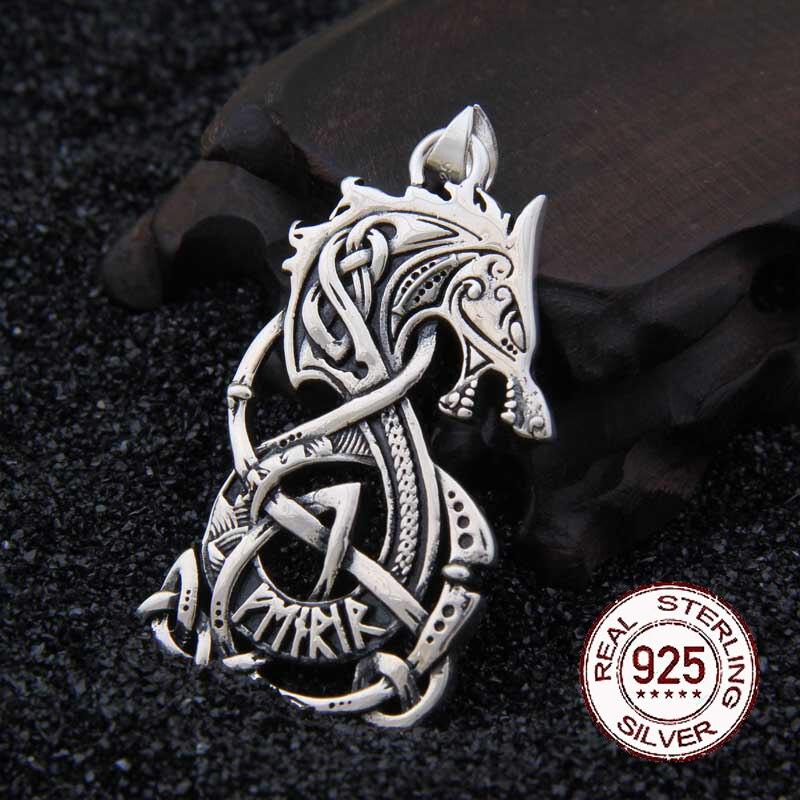Réel 925 Sterling Argent Viking Dragon pendentif collier avec vraiment en cuir et boîte de fer comme cadeau