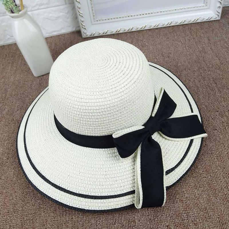 c8aee9bb1 Summer Outdoor Sun Hats Fashion Lady Wide-Brimmed Hat Folding Beach Bow Cap  Fashion Casual