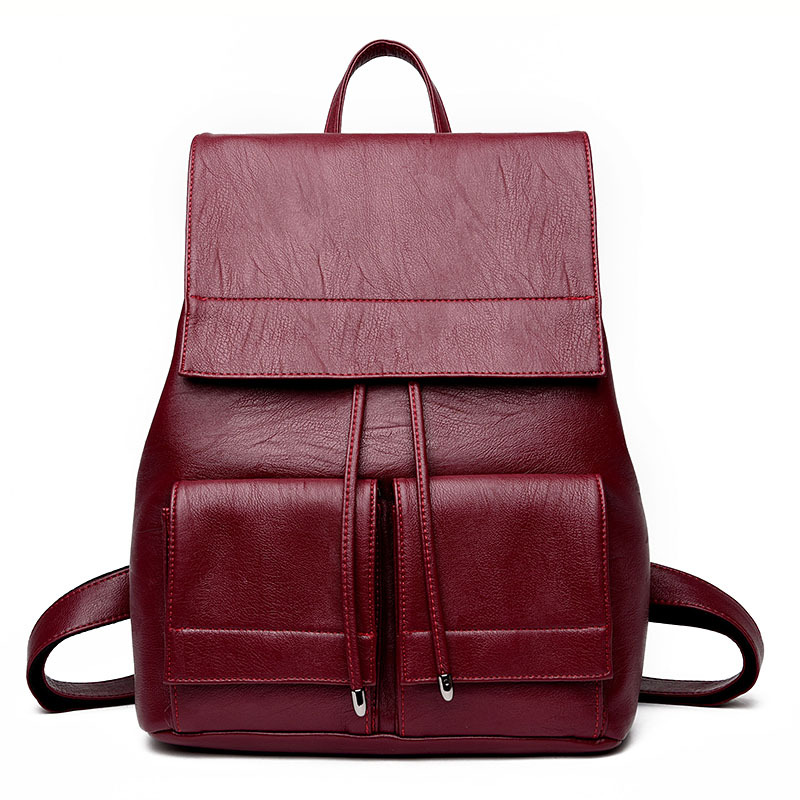 Leather Backpacks Women Fashjion School Bag Student Backpack Ladies Female Travel Shoulder Big Capacity Bags dy0606 ladies bag 15inch women backpack suit for 14 15 notebook laptop bag student school bag travel mountaineering bag