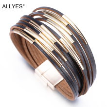 ALLYES Slim Strips Leather Bracelets For Women 2019 Fashion Metal Charm Boho Wrap Multilayer Wide Bracelet Femme Jewelry