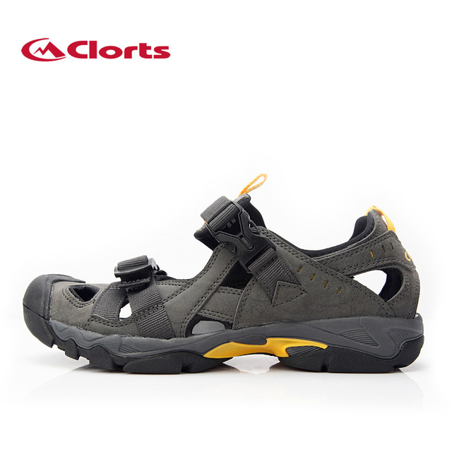 05f084a143f0 Clorts PU Men Sandals Outdoor Hiking Sandal Platform Shoes Summer Male  Beach Shoes SD-206C D