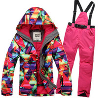 Women Snow Suit Sets Snowboarding Costumes Female Ski Suit Sets Waterproof Thicker Winter Clothing Snow Jackets