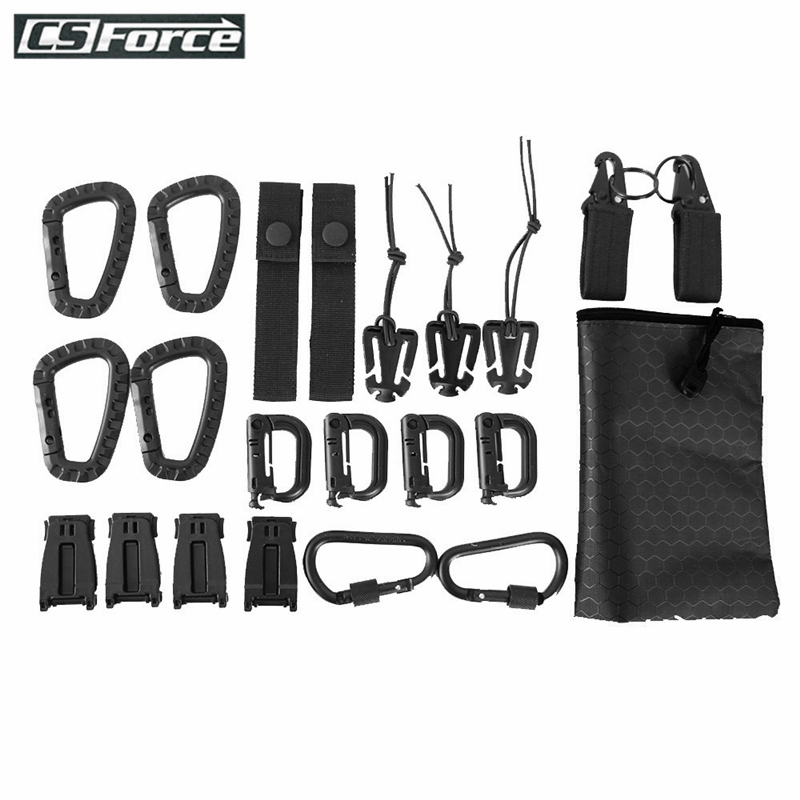 22 Pcs Tactical Gear Clip Molle Attachments D-Ring Carabiner Clip Grimlock Molle Webbing Key Ring Strap Elastic Strings Tool Set