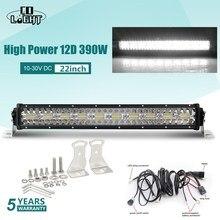 שיתוף אור 3 שורות 390 W Offroad LED אור בר 12D 22 אינץ LED עבודת אור בר מבול ספוט קרן 4x4 Led בר טרקטורונים SUV משאיות 12 V 24 V