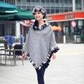 De luxo Chinchilla Rex Rabbit Fur guarnição capa de Cashmere preto, Cinza Poncho de pele do inverno para mulheres outono inverno Outerwear CW260