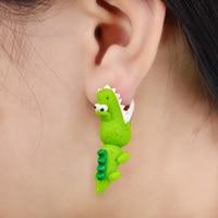 Handmade Polymer Clay Crocodile Dinosaur Stud Earring For Women Animal Earrings Jewelry  Fashion Girl Earring 1 pair  4111