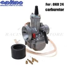 24mm  Universal Carburetor for OKO PWK 24 Motorcycle Carburador With Power Jet For Racing Motor