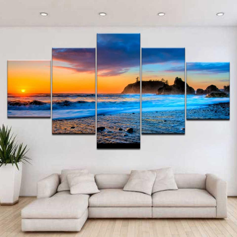 5PCS//set Print Picture Paintings Home Bedroom Decor Wall Art Landscape Seascape