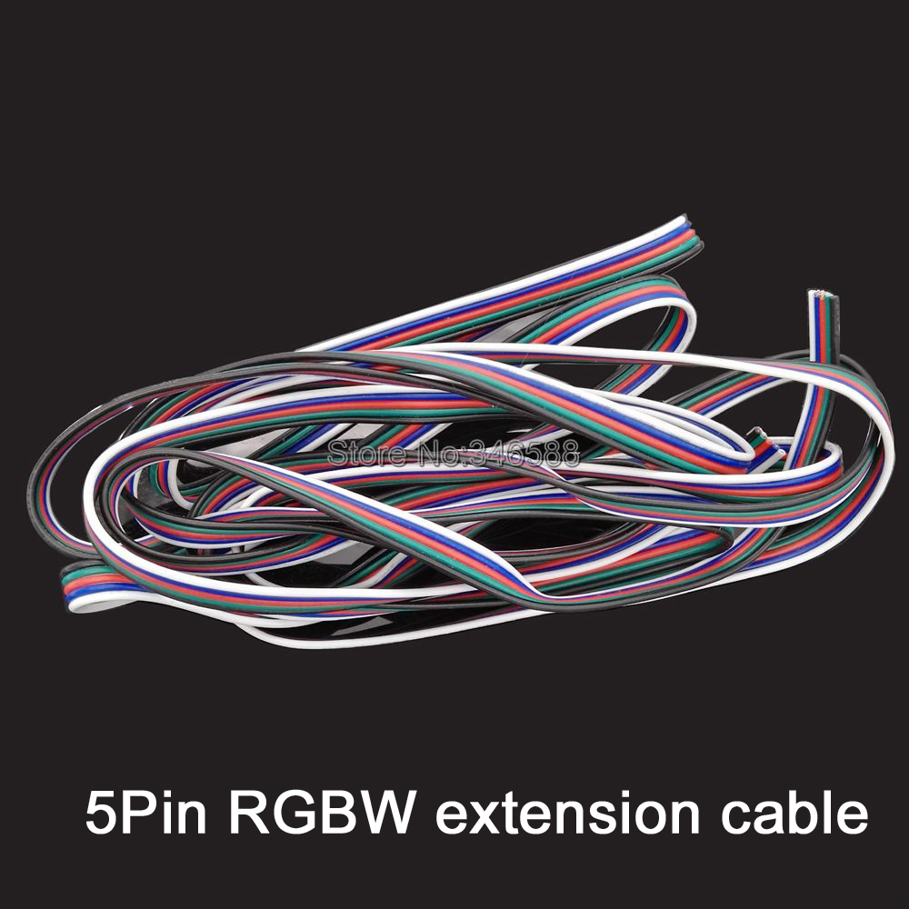 1m 5Pins 5-Pin RGBW LED Extension Cable Connector 22AWG Tinned Copper PVC Insulated Electrical Extension Wire for RGBW LED Strip  1m 15mm flat tinned copper braid sleeve screening tubular cable diy