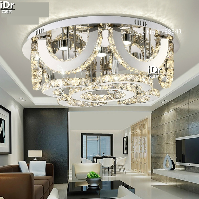 Small Round Led Crystal Ceiling Lights Living Room Lamps Study Bedroom LampChina