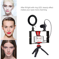 Makeup Mirror Ring Light 4.6inch Round Fill Light Phone Video Tripod for phone tripod With microphone Live Mobile photography