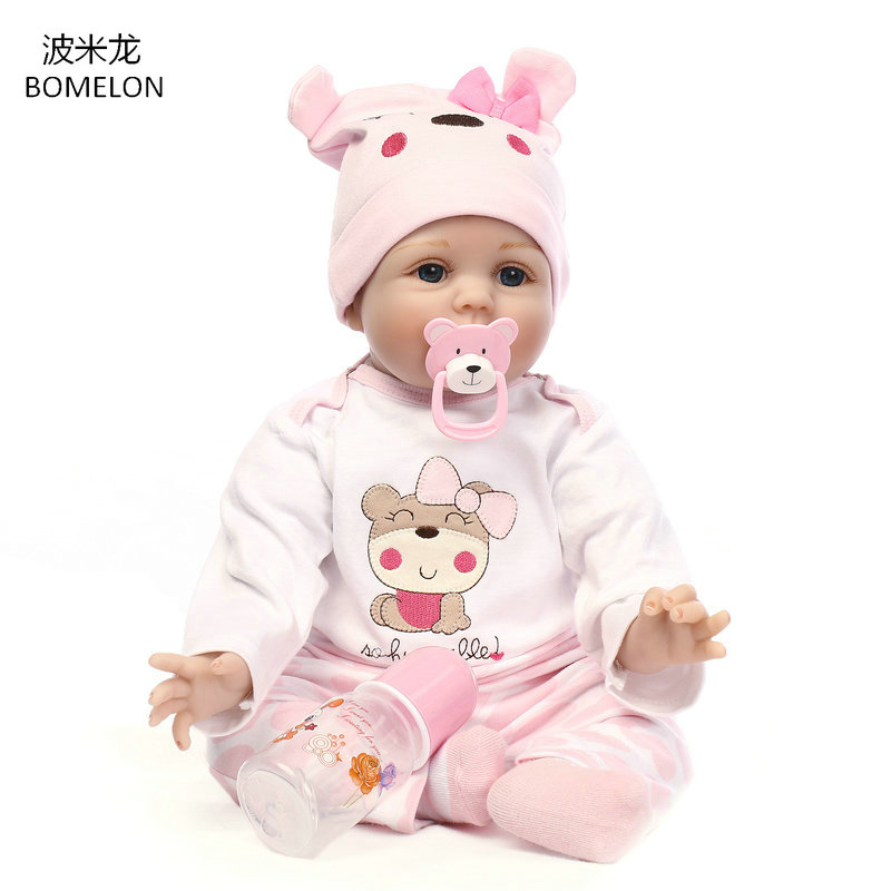 55CM Baby Reborn Doll 22 inch Lifelike Girl Doll Pink Soft Cloth Body Brinquedos Kids Toy Birthday Christmas Gift for Girls new arrival 55cm blue eyes pink clothes lifelike baby soft girl doll with free plush toy as kids xmas gifts birthday doll toys