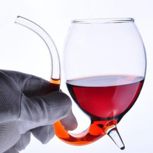 1pc Creative 300ml Devil Red Wine Glass Transparent Cup Mug With Built in Drinking Tube Straw Water Cup for Home Bar Hotel