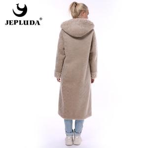 Image 4 - JEPLUDA חדש סגנון אמיתי פרווה מעיל נשים החורף ארוך רוכסן ברדס טבעי תערובות צמר כבשים פרווה מעיל נשים חם אמיתי פרווה מעיל