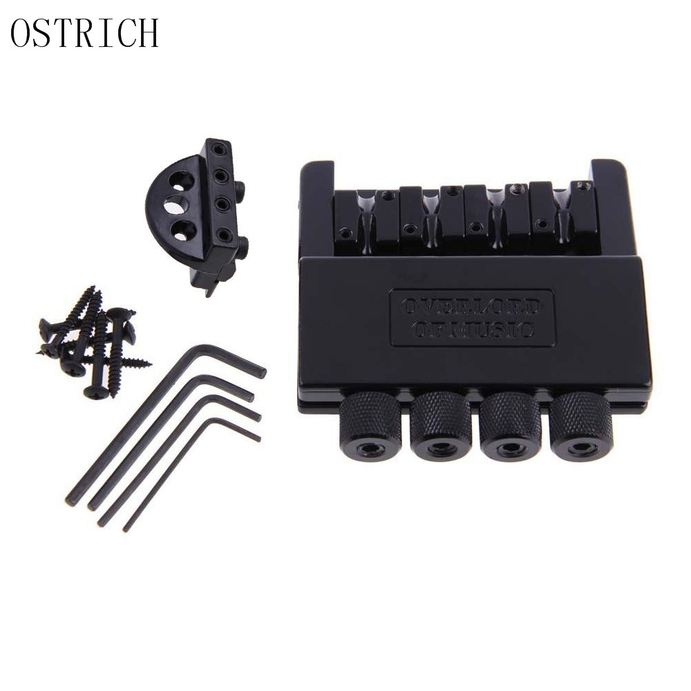 Ostrich Black Headless 4 String Electric Guitar Bass Tremolo Bridge System for Headless Guitar black 6 string saddle guitar tailpiece tremolo bridge for headless guitar replacement