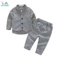 Baby Boy Clothes Suits Vest Plaid Shirt Pants 3pcs Set Party Formal Gentleman Wedding Long Sleeve