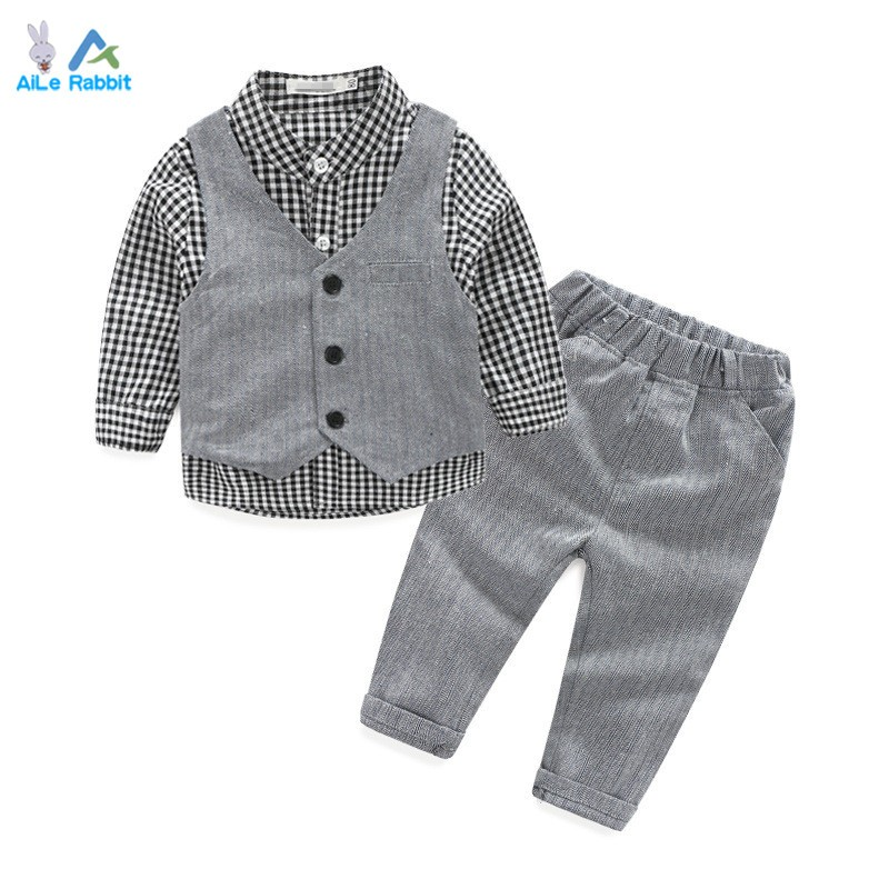 Baby Boy Clothes Suits Vest+Plaid Shirt+Pants 3pcs Set Party Formal Gentleman Wedding Long Sleeve Kid Clothing Set Free shipping top and top children boys clothing sets vest shirt pants 3 pcs set gentleman kids boy party clothes suits