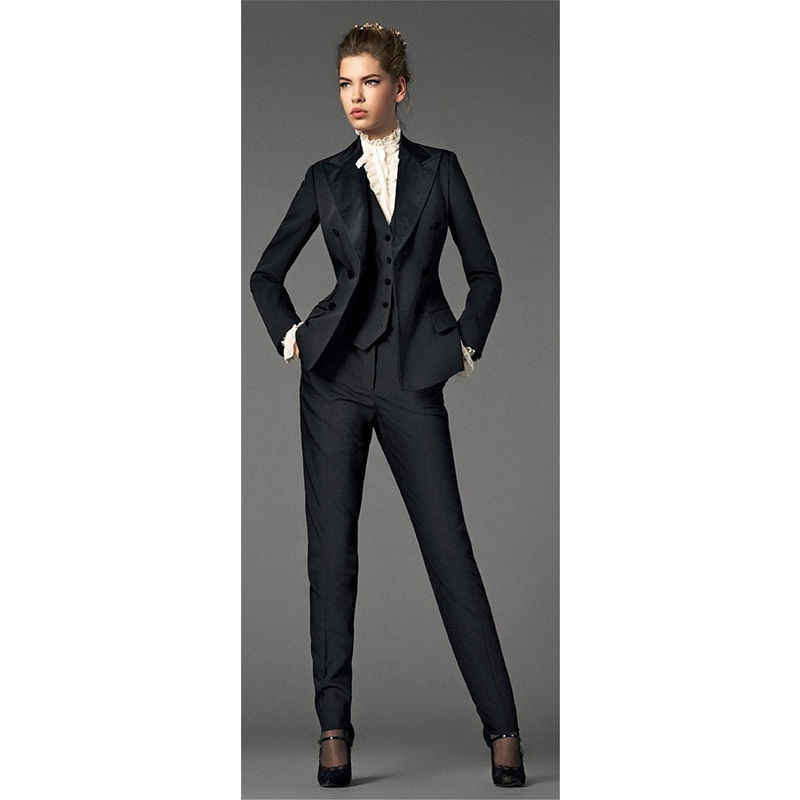 New Fashion Black Ladies Autumn Winter Formal Suits Womens Business Suits Office Uniform Interview Tuxedos B176