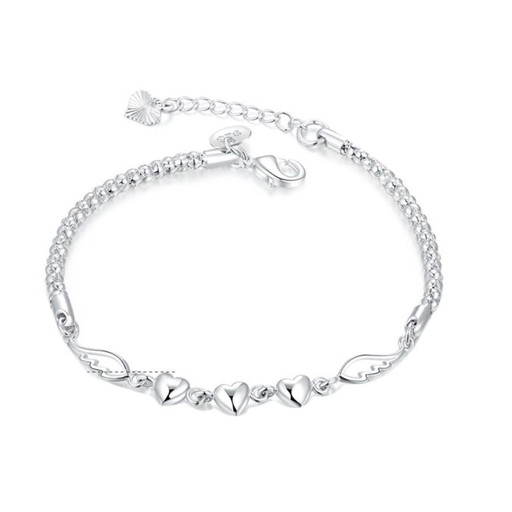 Angel Wing Crystal Heart Collares Women Winter Bracelets Silver Plated Bangle Brand Fine Jewelry Gift