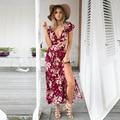 2016 Новый цветочный принт женщины сплит длинное платье платья партии Лето boho шикарный сексуальный спинки vintage макси платья