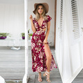 2016 New floral print women split long dress vestidos de fiesta Summer boho elegant sexy backless vintage maxi dresses