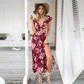 2016 Nuevas mujeres de la impresión floral dividir vestido largo vestidos de fiesta vestido de Verano de boho elegante backless atractivo de la vendimia vestidos maxis