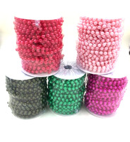 A Roll 20Meters Beads Size 8MM Artificial Pearls Chain Bead Plastic Garland Rope Wedding Party Christmas Home Hanging Decoration